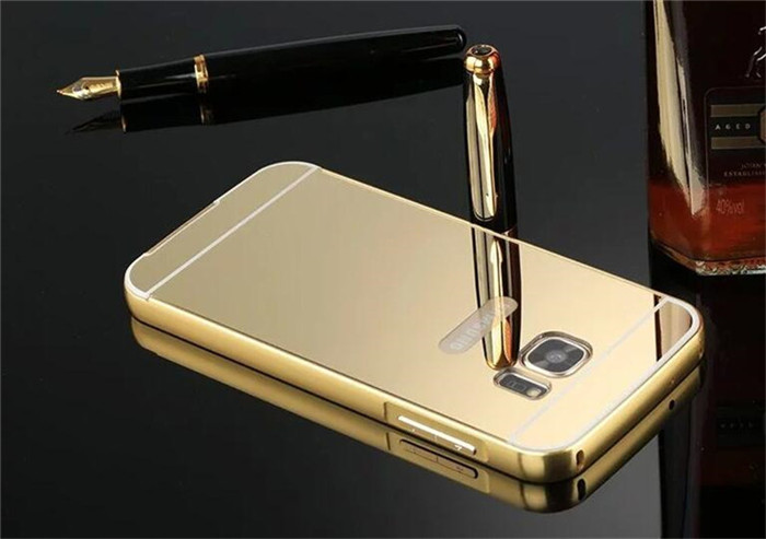 Luxury Gold Plating Aluminum Metal Frame + Mirror Acrylic Back Case For Samsung Galaxy S7 G9300 / S7 Edge G9350 Cover Cases