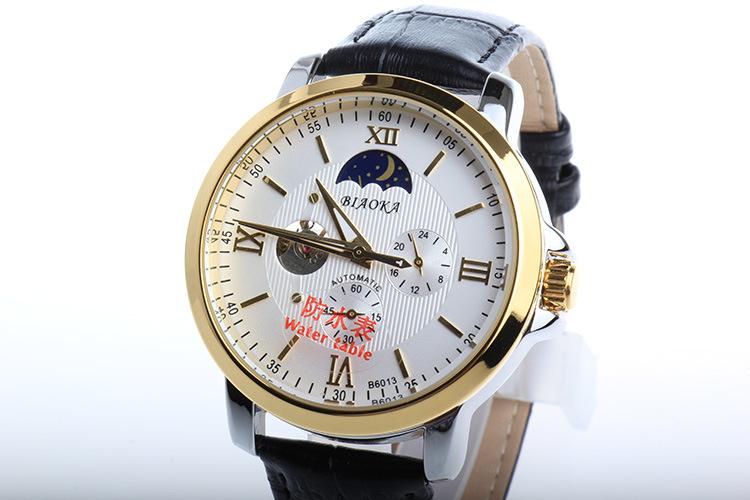 2016 New Arrival 100 m Waterproof Men Brand BIAOKA Business Watch Mechanical Men Casual Leather Gold Skeleton Wristwatch