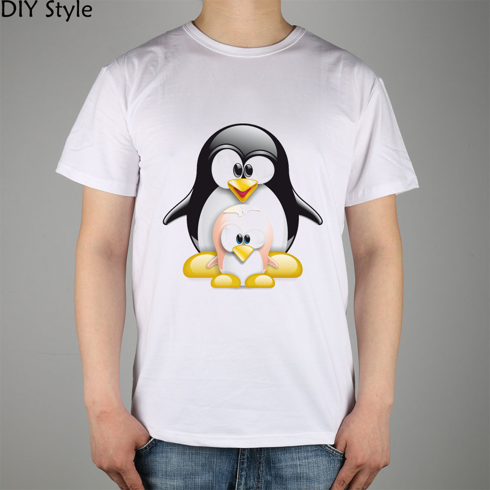 Large And Small Size Penguin Linux Logo t-shirt Cotton Lycra Top(China (Mainland))