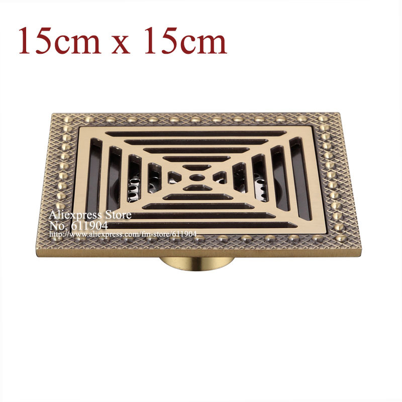 15 x 6 Inch Square Bathroom Shower Drain Floor Trap Waste Grate Antique Brass Grid
