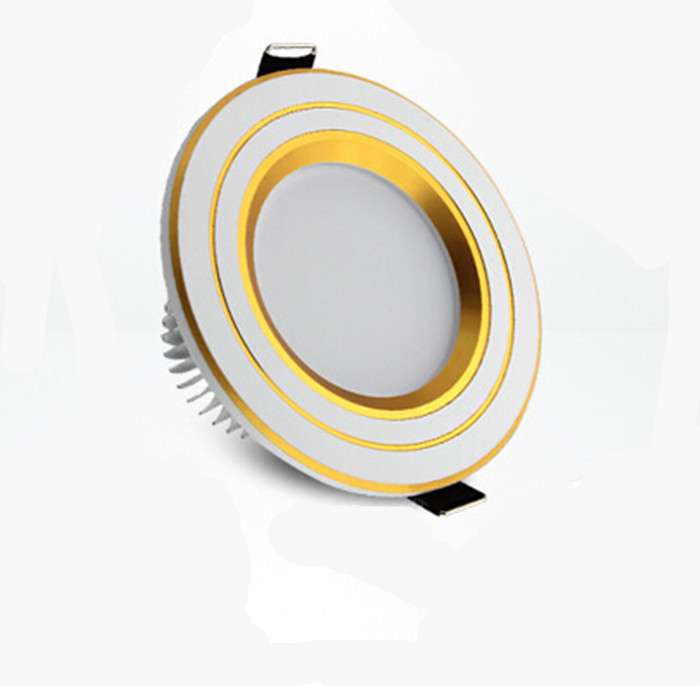 Lot 2pcs Modern 3W 220V Golden LED Ceiling Downlight Warm White Light for Home Office Decoration Free Shipping(China (Mainland))