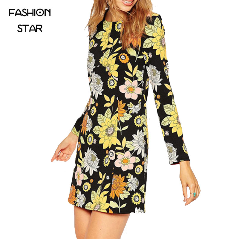 On Sale Newest Europe Design Winter Women's Dress Female Retro Middle Waist Flower Printing Slim A-Line Vestidos(China (Mainland))