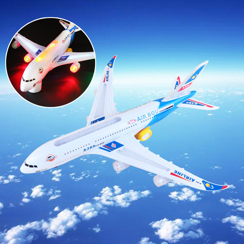 A380 Model Bump&Go Aeroplane With Flashing Light Sounds Music Electric Toy Airbus Aircraft Airlines Plane Toys(China (Mainland))