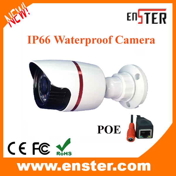 Enster 720 IP66 Waterproof Bullet Mental Camera +POE 24 Pieces Leds 20M CCTV IP Cameran with POE(China (Mainland))