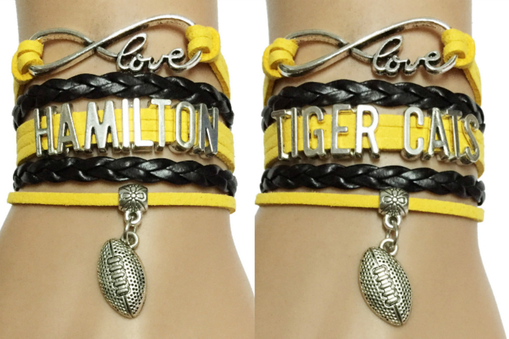 Drop Shipping Infinity Love Tiger Cats Canada CFL Football Teams Friendship Leather Braided Gifts(China (Mainland))