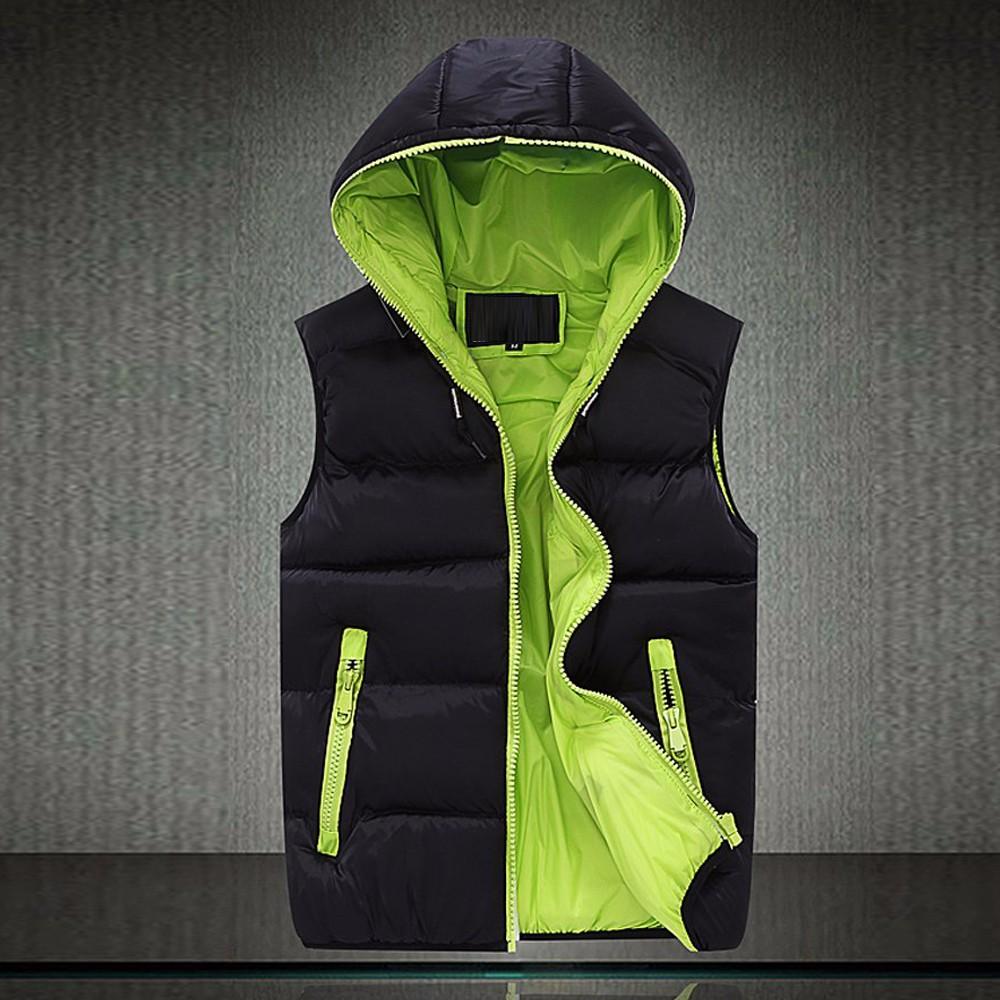 2016 Mens Sleeveless Jacket Veste Homme Winter Fashion Casual Coats Male Hooded Cotton-Padded Men\`S Vest Male Warm Waistcoat
