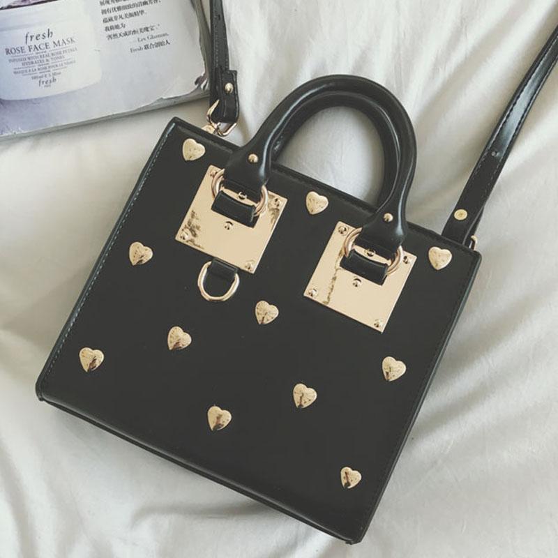 designer tote bag women heart rivet crossbody bag fashion top-handle bags small leather handbags name brand shoulder bags Stella(China (Mainland))