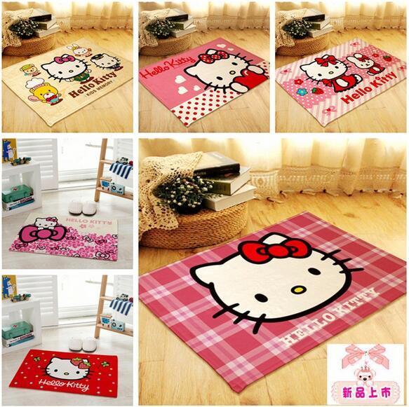 Flannel Hello kitty carpet anti-slip bedroom mat home floor decorative mats door mats(China (Mainland))