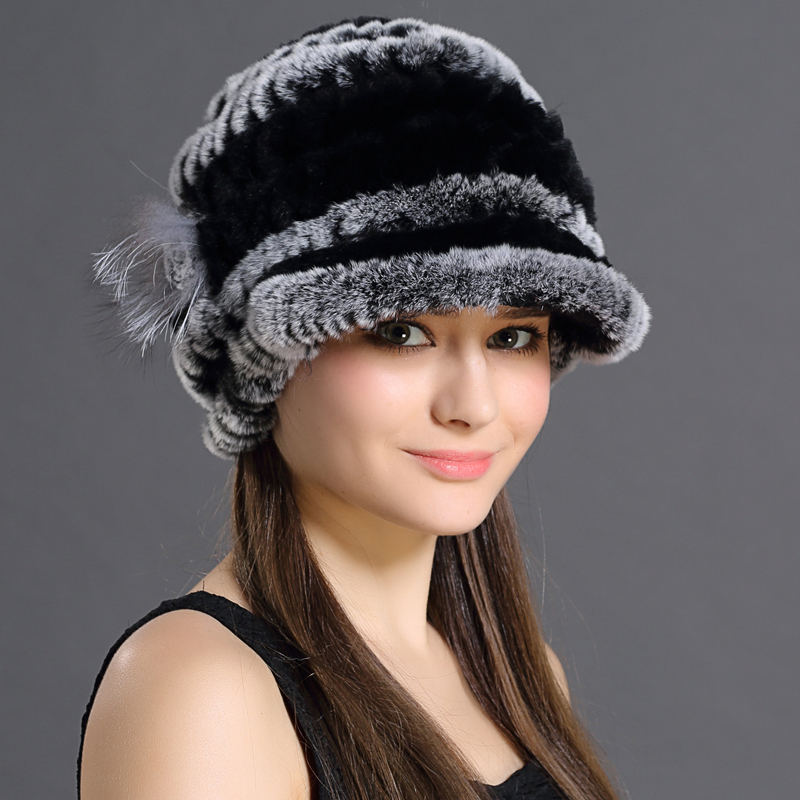 Women Genuine Fur Hats Caps Knitting Rex Rabbit Fur Russian Hat Free Shipping Natural Stripe Fur Hats Lady Winter Warm Beanies(China (Mainland))