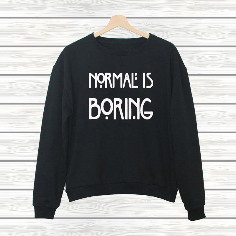 NORMAL IS BORING Letter Print 2016 New Fashion Harajuku Jogging Tracksuits Hipster Sports Pullover Women's Hoodie or Sweatshirt(China (Mainland))