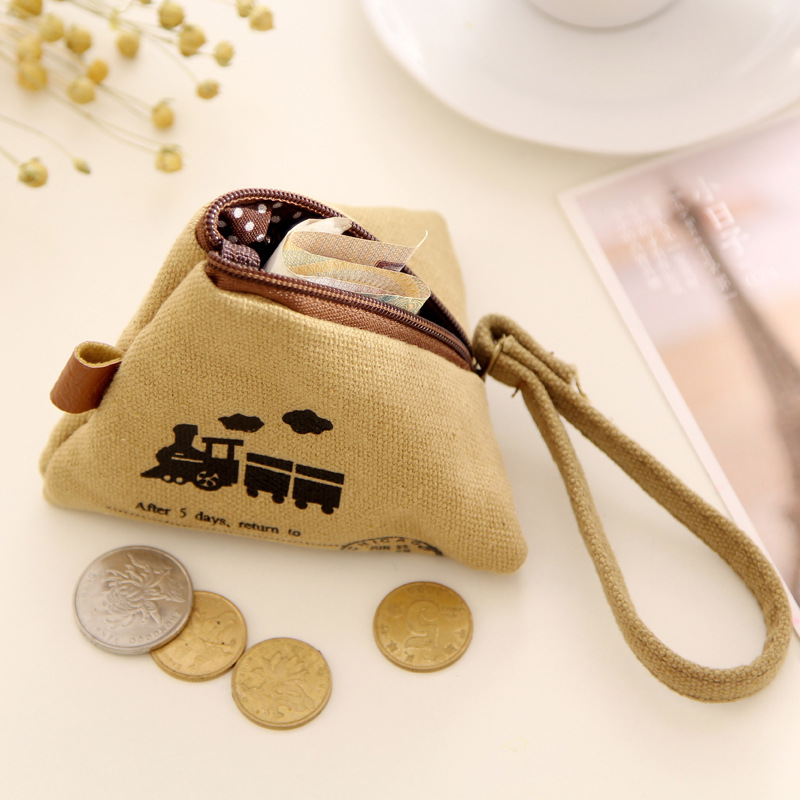 Unisex Men Women Coin Purse Canvas Bag Fabric Triangle Clutch Coin Purses Lady Pouch Zipper Coin Wallets Small Change Money Bag(China (Mainland))