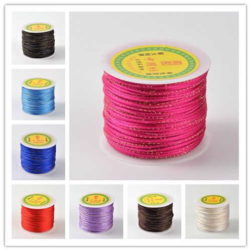 100m/roll Gold Line Round String Polyester Cords 2mm Jewelry Findings & Components 9 colors White/Black/Red/Blue/Orange(China (Mainland))