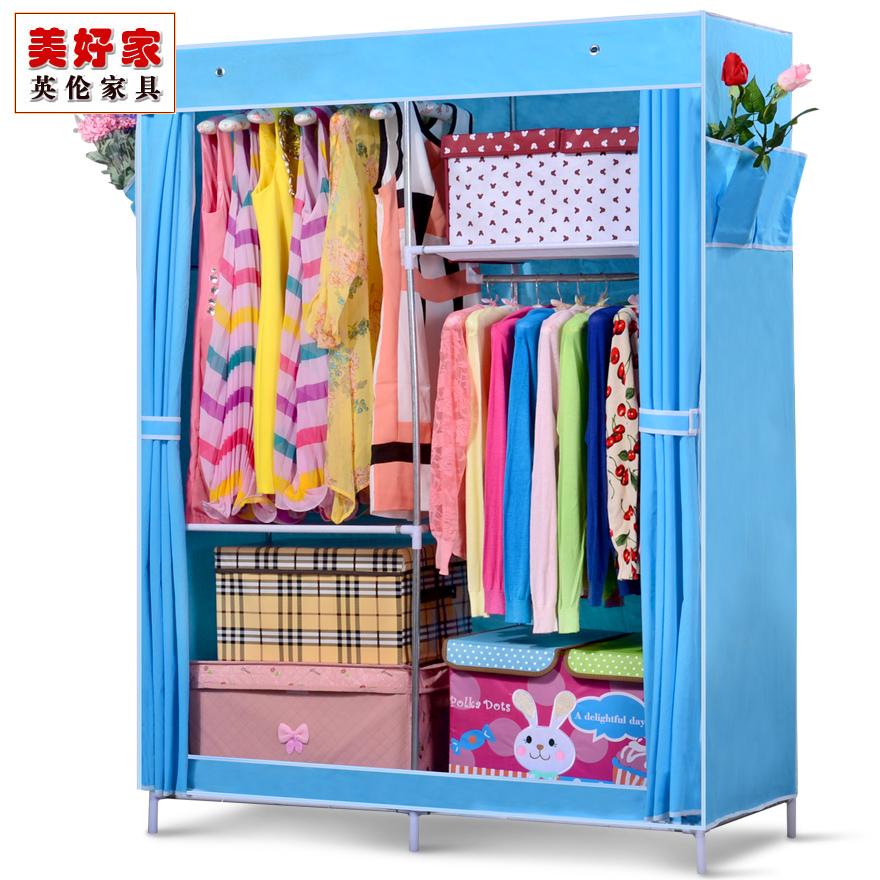 Fashion simple wardrobe cloth wardrobe steel pipe Large folding wardrobe combination wardrobe(China (Mainland))