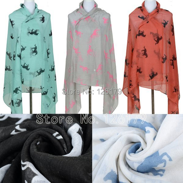 Women's Horse Scarf Print Long Shawl Cape Cotton Voile Warm Soft Tippet Muffler 2015 New Design Pashmina Scarves(China (Mainland))