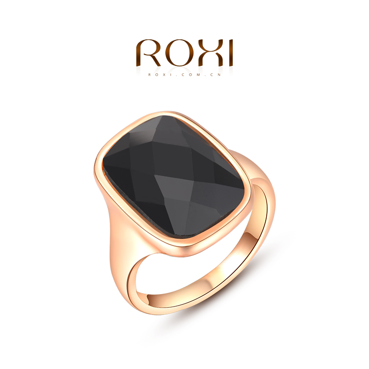 ROXI New Design Genuine Rose/White Gold Plated Austrian Crystals Black Ring Vogue Women Jewelry Factory Price SZ(China (Mainland))