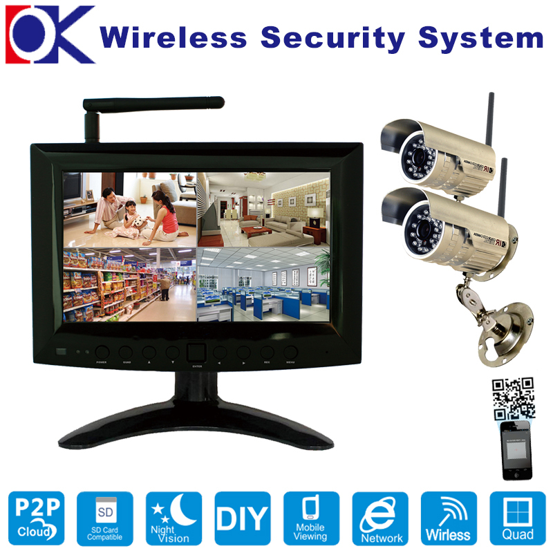 2.4GHz 2CH Digital Wireless Network P2P PNP Monitor CCTV Home Security System Camera DVR Kit(China (Mainland))