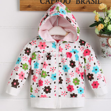 2014 NEW arrival terry cotton 100 kid's hoody  jacket  2T 3T with cute cartoon floral