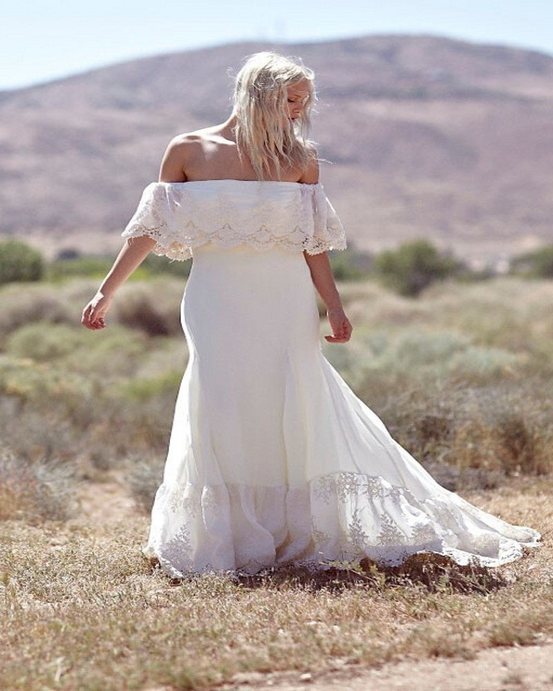 hot sale off the shoulder lace chiffon boho wedding dress