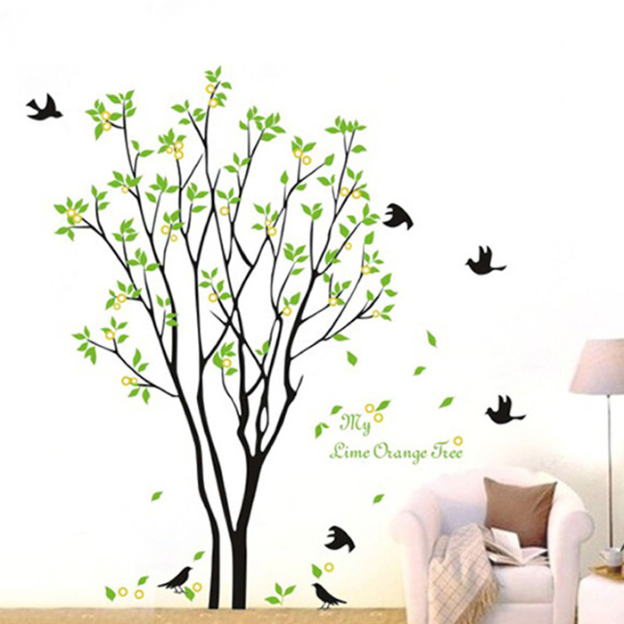 Removable Green Tree Leaves Bird Wall Sticker DIY Art Mural Decal Bedroom Home Decor Nature 3D Wall Decal Wallpaper