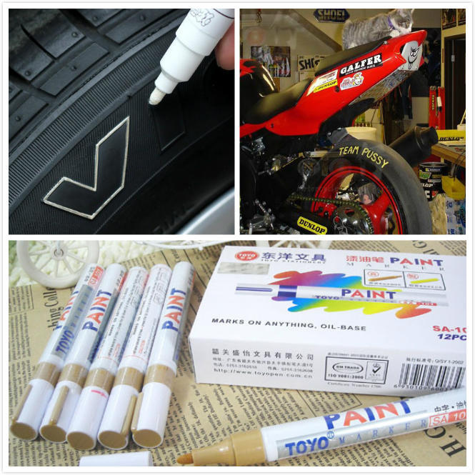 5pcs/lot White Car Motorcycle Tyre Tire Tread Rubber Paint Marker Pen Whatproof Permanent Free Shipping(China (Mainland))