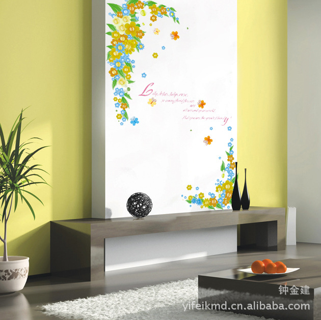 Removable wall stickers bedroom backdrop stickers sticker romantic flowers restaurant group AY1927(China (Mainland))