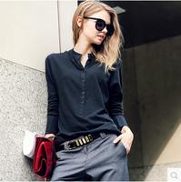 European style autumn fashion open-neck  stand collar ladies blouse long-sleeve cotton female basic shirt blusas femininas 2014