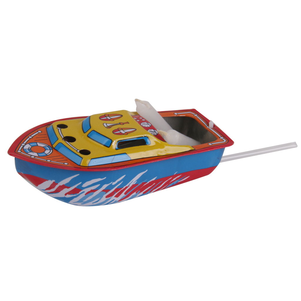 Colorful Boat Powered with Candle Retro Tin Toy Vintage Collectible