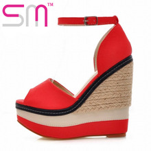 Weave High Wedges Women Sandals Patch Color Gladiator Sandals Sexy Open toe Women High Heels Platform Sandals Summer Shoes Woman(China (Mainland))