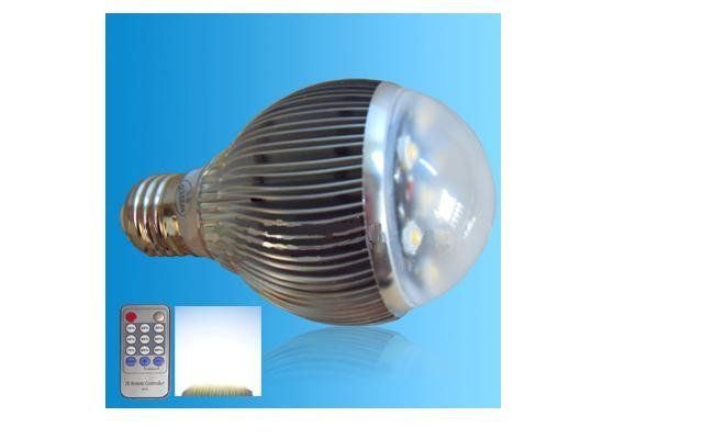 IR Remote controlled pure white LED bulb;420lm;dimmable;E27 Base;6*1W;Bridgelux Chip