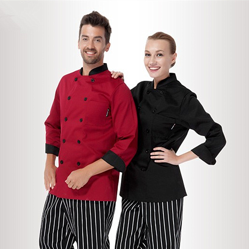 (5 get 10% off,10 get apron) classy man/woman chef uniform clothes wine red/blank long sleeve restaurant hotel kitchen coverall(China (Mainland))