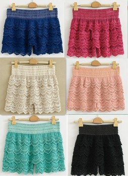 New Hot S to XL Full Cotton Lace Knitted Crochet Tiered 6 Colors Fashion Women's Mini Shorts Safety
