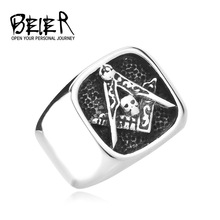Master Masonic Skull Signet Stainless Steel Ring for Man and Boy Never Fade Gift for Man Free Shipping BR8-130A