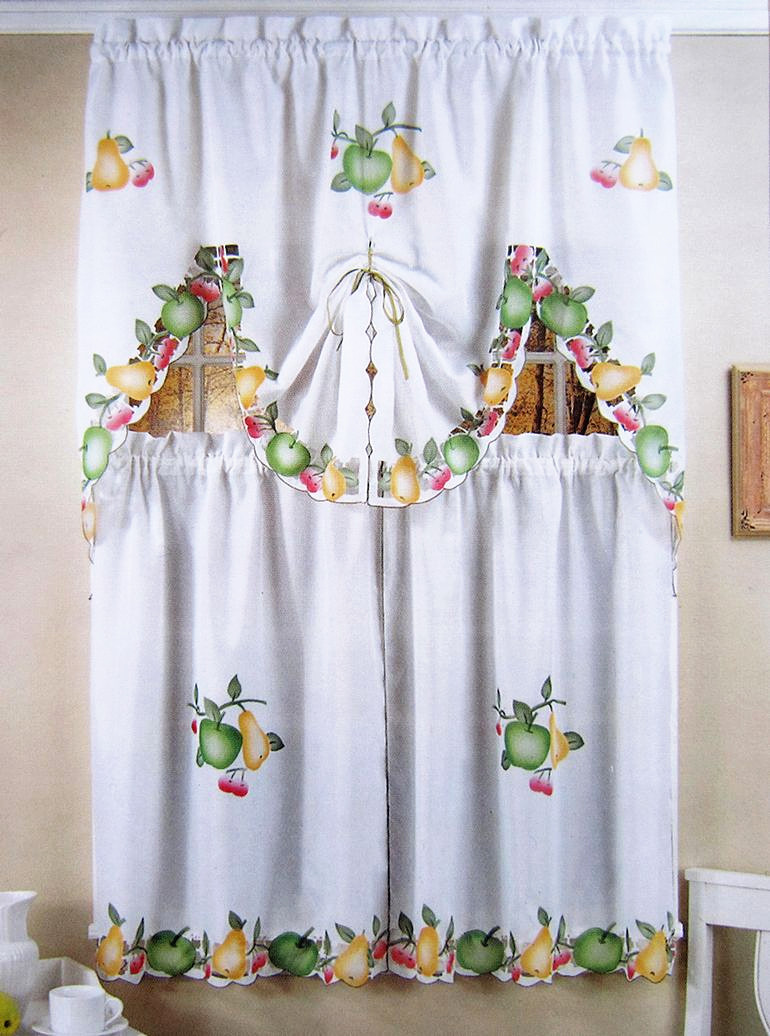 Kitchen coffee curtains set 1 piece draperies and 2 pieces for Cortinas para cocina modernas