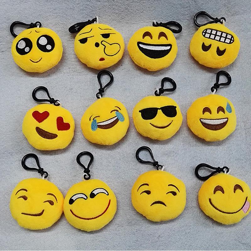 10pcs/lot New 6cm Cute Emoji Smiley Emoticon Amusing Key Chain Toy Gift Mini Bag Accessories Stuffed & Plush dolls(China (Mainland))