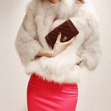 Hot Women Luxury Short Faux Fur Coat Jacket Overcoat  Fashion Outwear White Black(China (Mainland))