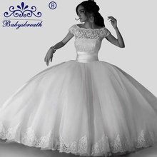Buy Ribbons Brautkleid Pearl Wedding Dresses Tulle Ball Gown Wedding Dresses 2017 Bride Gowns Hochzeitskleid Xxl Mit Goldspitze for $179.40 in AliExpress store