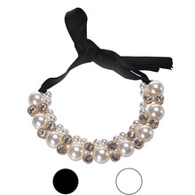Novel design Diomedes Women Double Row Adjustable Ribbon Beads Rhinestone Necklace Imitation Pearl Chokers Necklaces je27(China (Mainland))