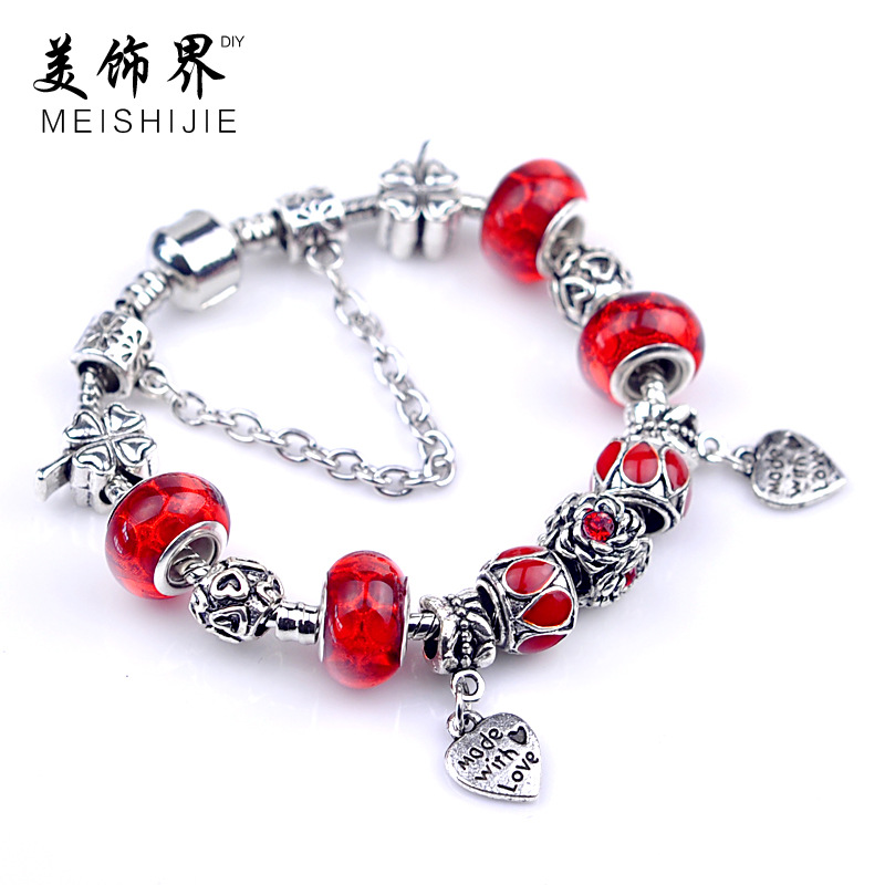 product Europe and the United States jewelry wholesale Macroporous glass bead bracelet lovers bracelet adorn article