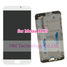 White with Middle Frame for Meizu MX5 /5.5″ LCD Display+Touch Screen Digitizer+Frame For Meizu MX 5 Replacement Free Shipping