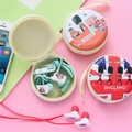 2016 In Ear girls gift England storage box stereo earphone for Iphone samsung MI LG earbuds