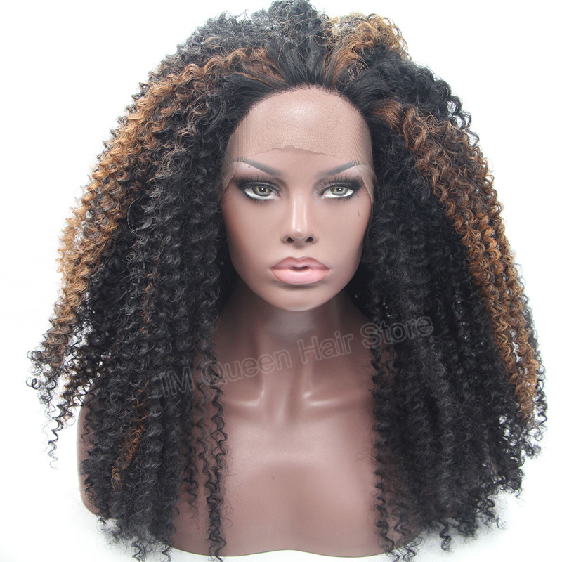 High Quality Synthetic Lace Front Wig Heat Resistant African American Synthetic Lace Wig for Black Women Two Tone 1b to Blonde