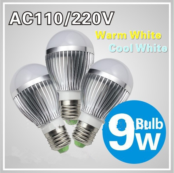 e27 9w led bulbs Dimmable Bubble Ball Bulb light bulb silver/gold shell color,warm/cool white,+freeshipping - Pleasant Foreign Trade store