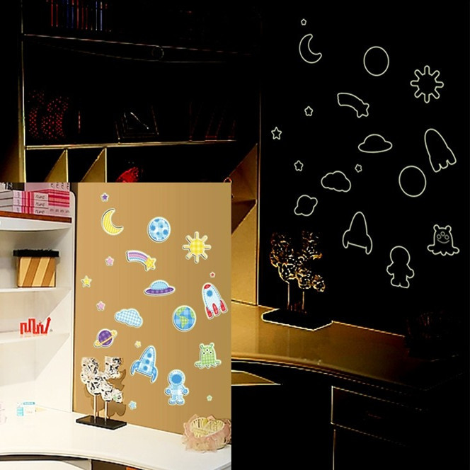 Manufacturers combination of luminous fluorescent wall stickers wholesale new children's creative art sticker Planet Time Y0005(China (Mainland))
