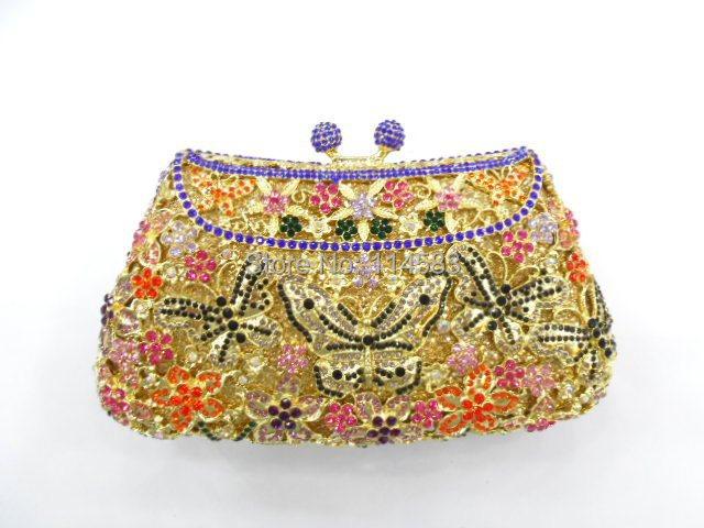 8249C Crystal BUTTERFLY Flower Floral Bridal Party hollow Metal Evening purse clutch bag handbag case