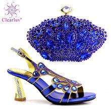 Azul Royal Sapatos Italianos com Sacos de Harmonização Sapatos e Saco de Harmonização para o Partido Nigeriano Nigéria Mulheres Sapatos De Casamento e Saco conjuntos(China)