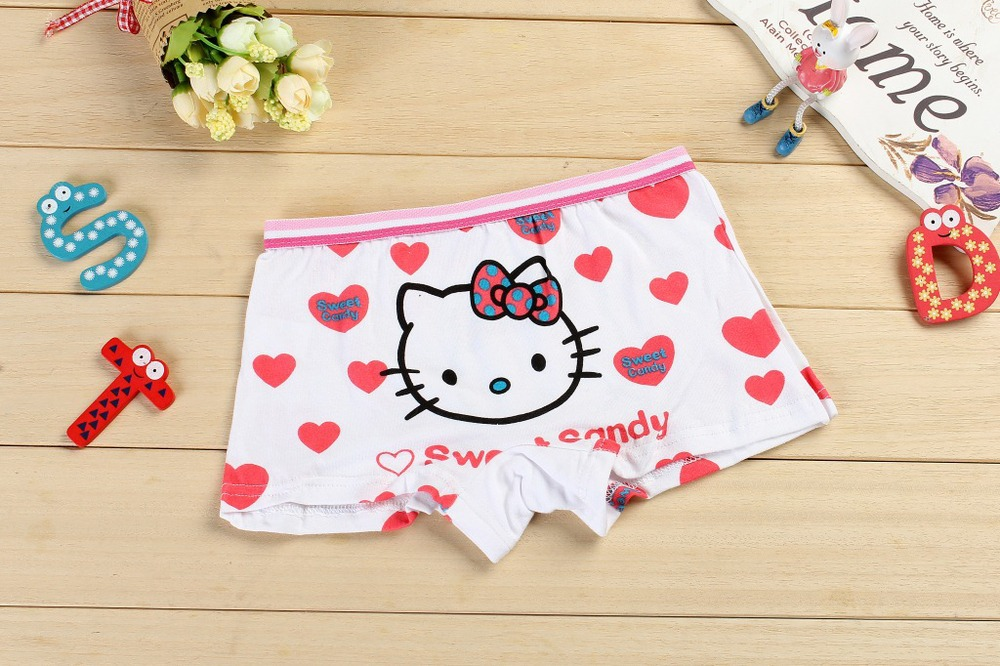 2015 New cute cats print kids cotton boxer short spandex girl panties stretch cotton kids underwear lingerie intimate wholesale(China (Mainland))