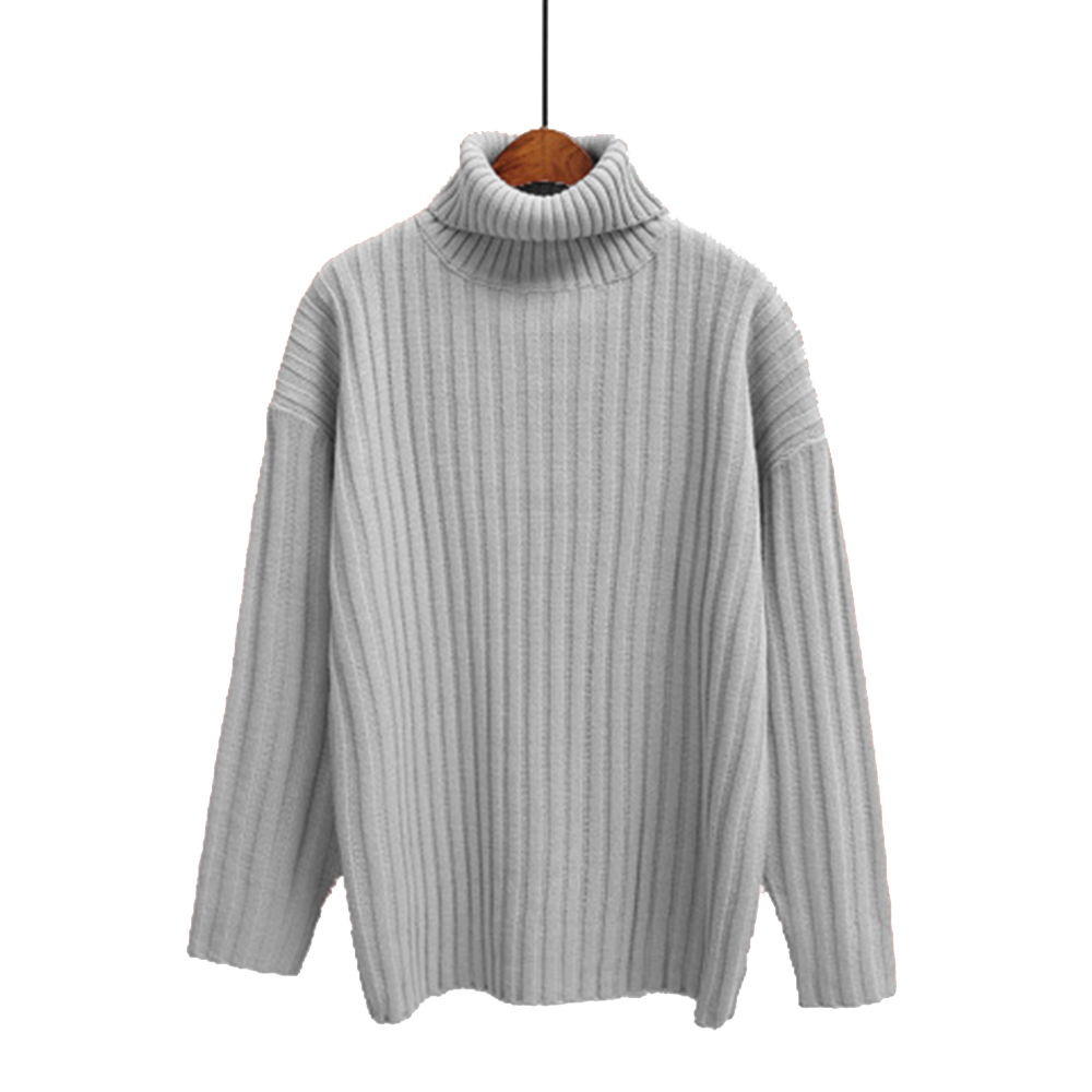 Autumn Winter Turtleneck Sweater Loose Knitted Women Sweater Casual Knitwear Pull Gilet Femme Manche Longue Pink Beige Navy(China (Mainland))