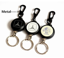High Strength Steel Wire Pull Keyring Tag Card Holder Recoil Belt Metal Badge Retractable Reel ID Card Holder(China (Mainland))