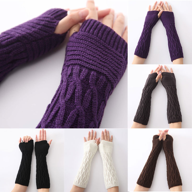 Hot Sale Women Arm Warmer Winter Long Gloves Fashion Fingerless Gloves Solid Color Knitted Mittens H9(China (Mainland))