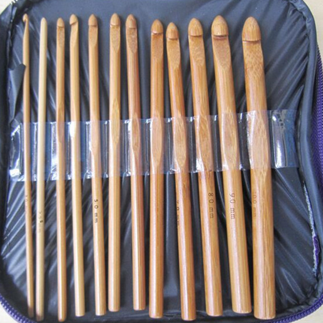 Wood Color Purple Sweater Knit Tool Bag Set Of 20 Bamboo